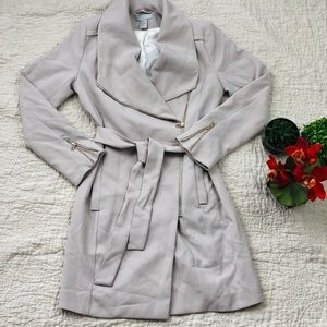 H&M Grey Taupe Long Overcoat